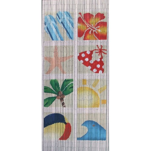 Bamboo Door Curtain At The Beach