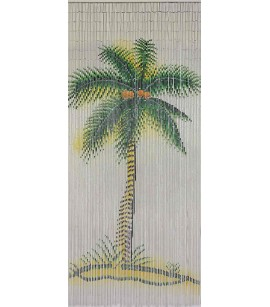 Bamboo Door Curtain Green Palm On White