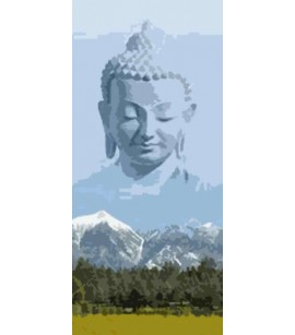 Bamboo Door Curtain Mountain Buddha